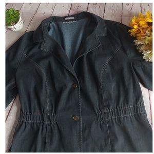 NY Collection Stretch Short Sleeve Denim Jacket.